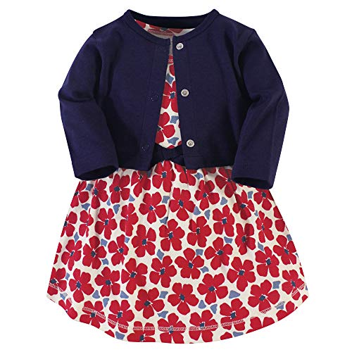 Touched by Nature Baby Girls' Organic Cotton Dress and Cardigan, Red Flowers, 18-24 Months