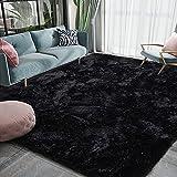 Homore Luxury Fluffy Area Rug Modern Shag Rugs for Bedroom Living Room, 5x8 Feet Super Soft and Comfy Carpet, Cute Carpets for Kids Nursery Girls Home, Black