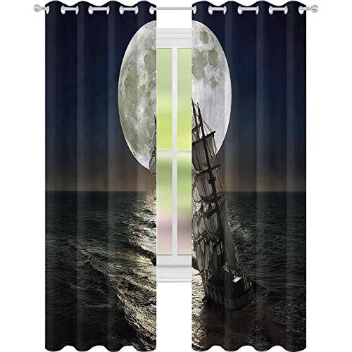 jinguizi Cortinas opacas con aislamiento térmico para paisaje, medianoche, luna llena, océano, 42 x 72, cortinas de ventana para dormitorio