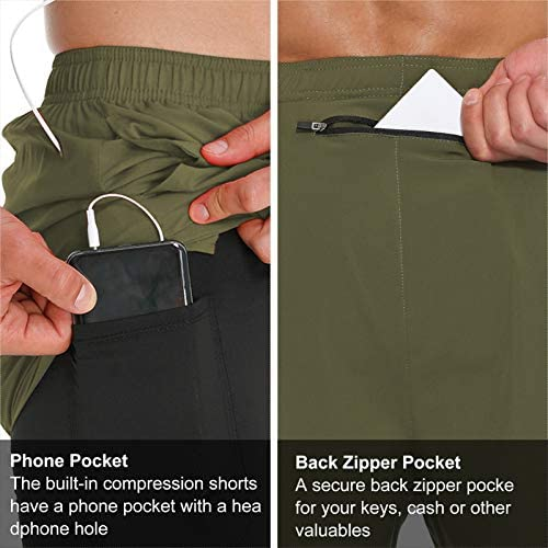 LABEYZON Men's Workout 2 in 1 Running Shorts 7 Inch Quick Dry Athletic Sport Gym Shorts with Phone Pockets