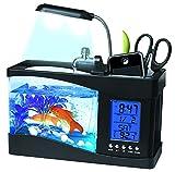 XKMY Acuario de pecera USB Mini acuario acuario acuario con lámpara de escritorio LED pantalla LCD reloj pecera acuario ecosistema (color: negro, tamaño: M)