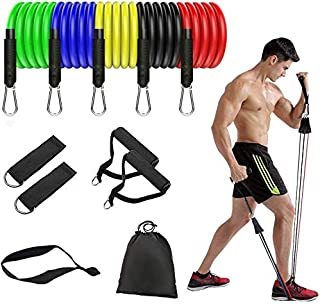 Portable Exercise Resistance Band Set, Exercise Stretch Fitness Home Set Stackable Up to 100 Lbs - Home Workouts Gym Accessories Perfect Muscle Builder for Arms, Back, Leg, Chest, Belly, Glutes