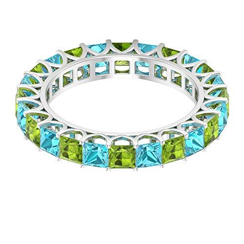 Anillo de boda con piedras preciosas de peridoto suizas de 2,52 ct, con forma de princesa de 3 mm, anillo de promesa de eternidad completa, 10K Oro blanco, Size:EU 45