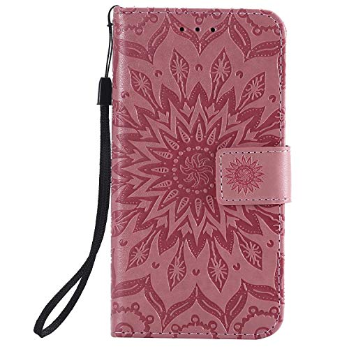 KKEIKO Hülle für Galaxy J2 Core, PU Leder Brieftasche Schutzhülle Klapphülle, Sun Blumen Design Stoßfest HandyHülle für Samsung Galaxy J2 Core - Rosa