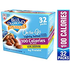 Contains 32 - Single serve 100 Calorie Packs of Blue Diamond Lightly Salted Almonds A healthy handful of 28 Lightly Salted premium almonds contains just 40mg of sodium – the right amount to bring out the almond taste without breaking your resolve to ...