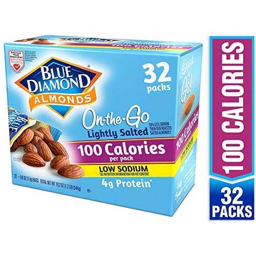 Blue Diamond Almonds Lightly Salted, Low Sodium, 100 Calorie Packs, 32 Count