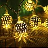 Globe String Lights Plug-in Metal Moroccan Ball Fairy Lights, Connectable with Tail Plug, Adjustable with Multi Modes, Novelty Decorations for Christmas, Halloween, Party, Wedding, Bedroom