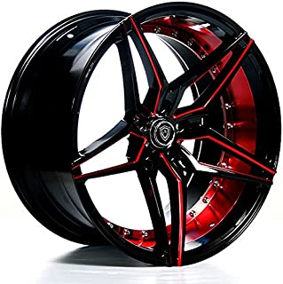 """20 Inch Rims (Black and Red) - FULL Set of 4 Wheels - Made for MAX Performance - Racing Wheels for Challenger, Mustang, Camaro, BMW and More! Rines Para Carros - (20x9"""") - MQ 3259"""