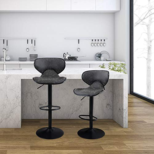 PHI VILLA Bar Stools Set of 2,Adjustable Counter Height Bar Stools with Footrest and Modern Back for Living Room,and Kitchen,PU Leather,350 lbs Capacity,Grey