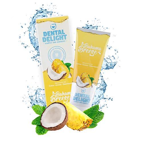 Dental Delight tandpasta met smaak, profylaxe & whitening toothpasta | veganistisch, dierproefvrij, zonder microplastic en palmolie, klimaatneutraal (ananas kokos, 1)