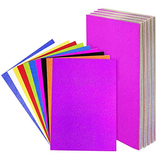 UPlama 40PCS Ultra Glitter Cardstock Heavy Paper 250gsm A4 Size Creative Handmade Decorative Card For DIY Gift Box Wrapping Birthday Party Decor Scrapbook,10 Colors 250gms