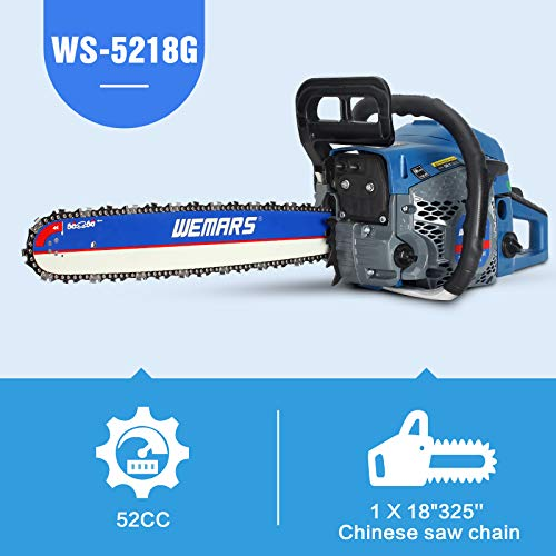 WEMARS Gas Chainsaw 52cc 18 Inch Power Chain Saw 2-Cycle Handed Petrol Chainsaws Gasoline Chain Saws Garden Tool for Cutting Wood Outdoor Home Farm Use