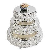 3Pcs/Set Mirror Top Bling Crystal Wedding Cake Stand, Cupcake Base, Dessert Serving Plate/Centerpiece(set 4)