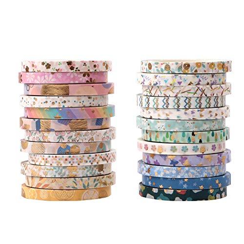 Gukasxi 24 Rollen Washi Tape Set, 4M Washi Masking Tape, Dekorative Klebeband mit 24 verschiedenen Muster zum Verschönern von Karten, Briefumschlägen, Geschenken und Fotoalben Gleichermaßen Geeignet
