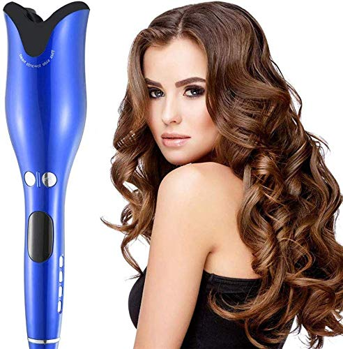 Price comparison product image WZCXYX Automatic Curling Iron,  Electric Hair Curler Rose-Shaped Steam Hair Curlers Rotating Curler Automatic Spin Curl Blue