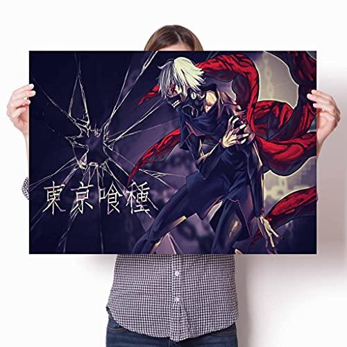 Zhengnengliang Figura de Anime Tokyo Ghoul Posters Decoración de Pared Arte Decoración para el hogar Dormitorio Niños Sala de Estar Sofá Póster de Lienzo 50x70cm J-712