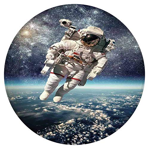 SoSung Galaxy Round Area Rug,Astronaut Floats Outer Space with Planet Earth Globe Surreal Gravity Image Space Art,for Living Room Bedroom Dining Room,Round 3'x 3',Grey Blue