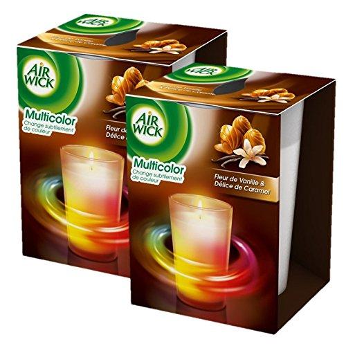 Airwick, Candela profumata per ambienti, con colori cangianti, all'aroma di vaniglia e caramello, 2 pz.