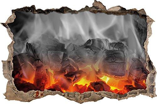 Pixxprint 3D_WD_5096_62x42 brennende Holzkohle in Kamin Wanddurchbruch 3D Wandtattoo, Vinyl, schwarz / weiß, 62 x 42 x 0,02 cm