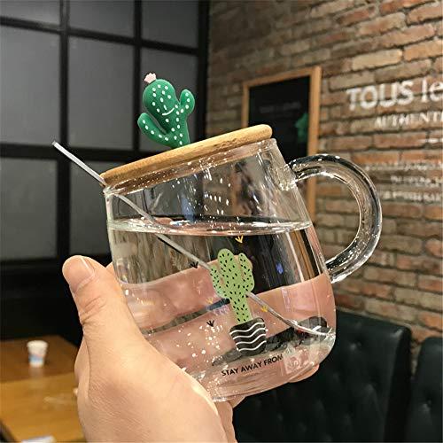 DISCOUNTL Becher, Coffee to go Becher, Pyrexglas-Milchbecher mit mikrowellengeheiztem Frühstücksbecher mit Deckellöffel Flachwasserbecher