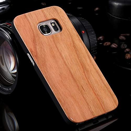 SCBJBZ Funda para Samsung Galaxy S8 S9 Plus Funda de Madera Real para Samsung S9 S7 S6 Edge Fundas Cubierta Madera Bambú Accesorios para teléfonos para Samsung S9 Plus Cereza Madera