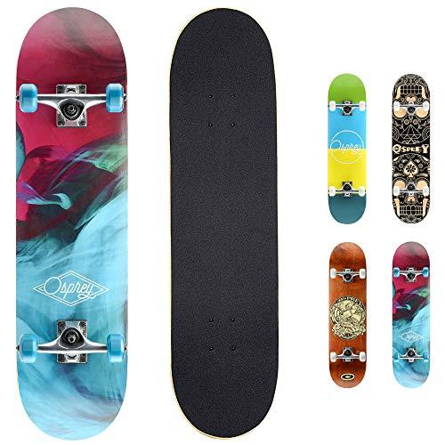 Osprey Complete Beginners Double Kick Trick Skateboard, 31 x