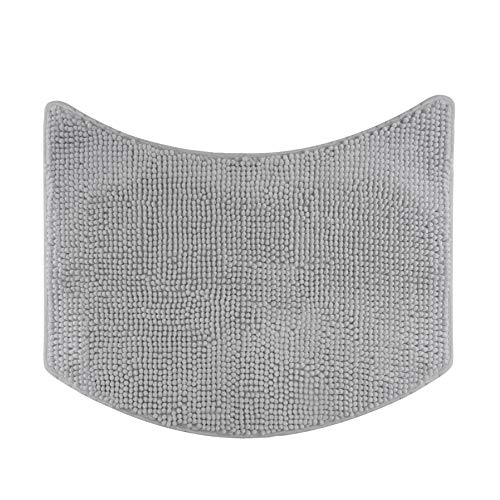 Badteppich für Rundduschen, Hochflor aus Mikrofaser-Chenille, rutschfeste Unterseite (Grau)