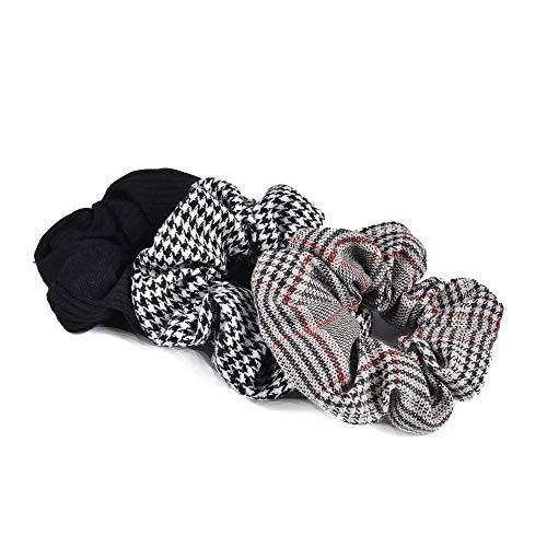 HUANGRONG 3pcs Vintage Black & White Check Holder Chouchous Ponytail Anneau élastique Tie Cheveux for Les Femmes et Fille Accessoires Cheveux