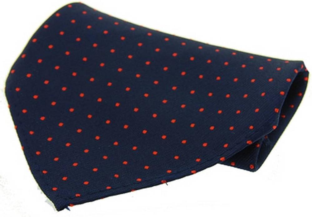 David Van Hagen Mens Pin Dot Silk Handkerchief - Navy/Red