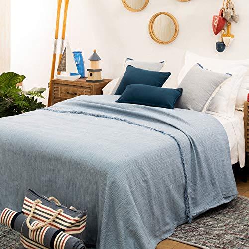 LA MALLORQUINA Colcha - Flecos Azul (Cama 150 o 160cm - 240x260cm - Azul) | Colcha de Verano y Entretiempo Multiusos de Diseño