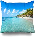 jingqi Throw Pillow Case Cancún Blue Beach Riviera Maya Paradise Beaches Quintana Naturaleza Deportes Recreación México Caribbean Cover Funda de Almohada