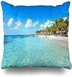 L.R.D 18X18inch Funda de Almohada Cancún Blue Beach Riviera Maya Paradise Playas Quintana Naturaleza Deportes Recreación México Caribe Funda de Almohada