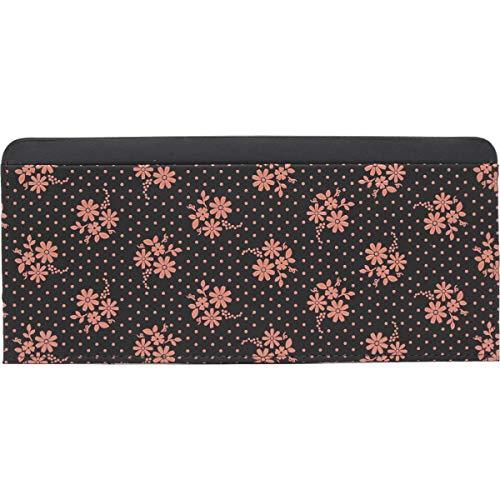 [和物屋] 印伝 長財布 薄型 束入れ 2105 薄い 財布 日本製 (コスモス(黒×ピンク))