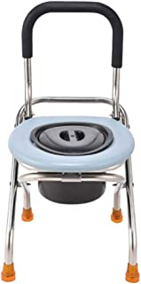 Bedside Commodes Portable Toilet,Stainless Steel Commode Chair, Foldable Old Toilet Seat Shower Chair,Use As Stand Alone Or with Toilet for Easy Transfers