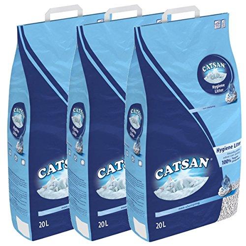 Catsan Hygiene nicht klumpendes Katzenstreu, 3 Packungen (3 x 20l)