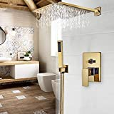 CZYNB Baño Grifo Oro Lluvia Ducha baño Grifo montado en la Pared Bathtub Ducha Mezclador Grifo baño Ducha Ducha grafucet Conjunto de Ducha