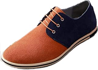 Oxfords for Men Work Shoes Lace up Business Casual Suede Upper Flat Round Toe Two Tones Anti-slip Lightweight Thin Low Top` Tussy (Color : Camel, Size : 50 EU)