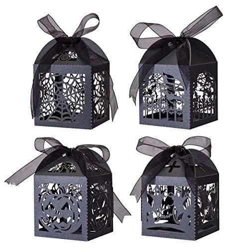 GWHOLE 40 x Halloween Cajas Papel de Caramelos Dulces Chocolates con Diseño de Hueco en Dibujos de Fantasma Murciélago Calabaza Telaraña