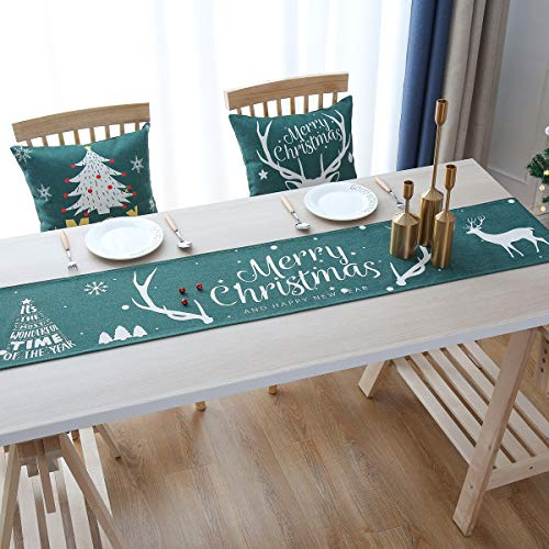 SeedSeat Christmas Table Runner -12 x 72 inches Reindeer Green Christmas Table Runners Xmas Holiday Decorations for Kitchen Dining Room Farmhouse