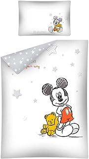 1 s/ábana Bajera 70 x 140 cm Arle-living 3 Piezas 100 x 135 cm Juego de Ropa de Cama para beb/é con dise/ño Reversible: Mickey Mouse 40 x 60 cm