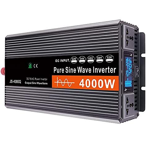 Inversor de Corriente de Onda Sinusoidal Pura 3000W Convertidor De Potencia Máxima 6000 W 12/24/48/60 V CC A 230 V /240 V CA 2 Salidas De CA Pantalla LCD HD Inversor De Automóvil Cantonape