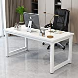 Study Computer Desk 43' Home Office Writing Small Desk, Modern Simple PC Table for Drawing TV iPad Laptop, White Metal Frame and Desktop