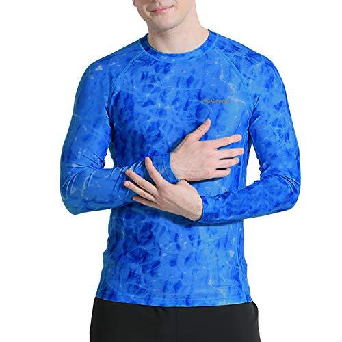 HISKYWIN Men's UPF 50+ Sun Protection Rash Guard Shirt UV Long Sleeve Wetsuit Swimsuit Tops HF807-Blue-S
