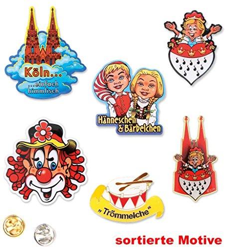KarnevalsTeufel 1 Anstecker I Love Köln Kölnbutton Verschiedene Motiven zur Auswahl Accessoire (Hänneschen & Bärbelchen)