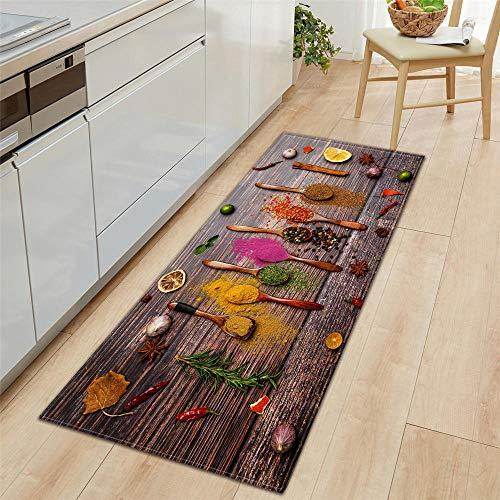 Küchenläufer Waschbar rutschfest Küchenmatte, 7MM Dicke Farbe Küche Gemüse rutschfeste Türmatte für Küche und Bar Teppich Läufer waschbare Küchenläufer Küche Deko, 60x180cm