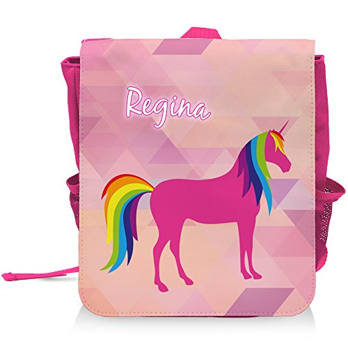 Kinder-Rucksack mit Namen Regina und schönem Einhorn-Motiv für Mädchen