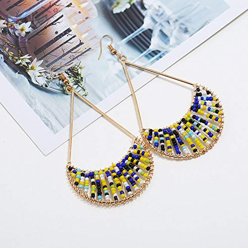 Fashion all-match earrings handmade exquisite ethnic wind drop fan-shaped rice beads temperament earrings in stock