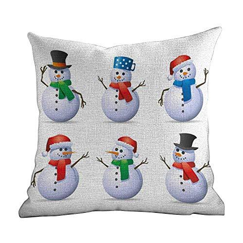 DKISEE Linnen Blend Couch Pillow Case Kerstmis Set van Snowmen met verschillende snoepjes en scarfs Carrot Noses Xmas Winter Theme, Multicolor, Decoratieve Home Zippered Throw Pillow