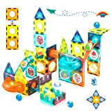 GAOCHALE Magnetic Tiles 75 PCS 3D Magnetic Blocks with Fantastic Lights, Colorful Magnet STEM Toys for 3 4 5 6 7 8 Years Old Boy Girl Gifts