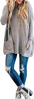Honghii-Women's tops Long Sleeve V Neck Pockets Basic Tee Blouse T Shirts Elegant Plus Size Chic Pullove Coat Jumper